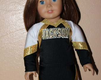 "Made to order Jackson Elite Cheerleader Uniform to fit American Girl Doll or any 18"" doll"