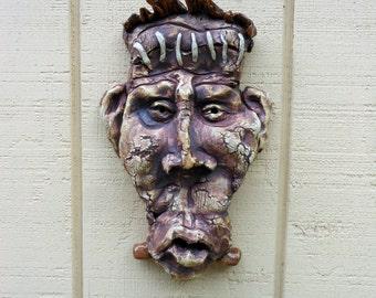 FRANKIE Ceramic wall mask Stoneware Sculpture