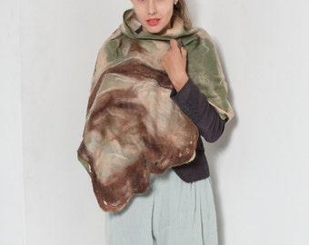 Nuno felted silk chiffon scarf. Felted scarf. Nuno felt scarf. Autumn felt silk scarf. Abstract felt scarf in green ,sand.Long felt scarf