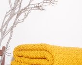 Ready to Ship Beautiful and Luxuriously Handcrafted CROCHET Blanket Throw MUSTARD