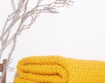 Made to Order  Beautiful and Luxuriously Handcrafted CROCHET Blanket Throw MUSTARD