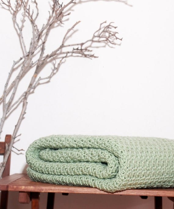 Ready to Ship Beautiful and Luxuriously Handcrafted CROCHET Blanket Throw FROSTY GREEN