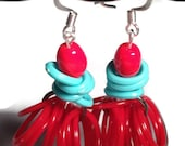 Reserved for Dorothy - SOMEBODY SHAKE ME Vintage Lucite Lipstick Red and Baby Blue Hoop Swinging Earrings