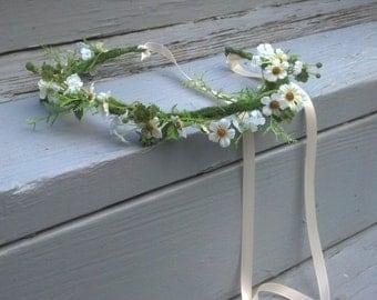Flower Girl Halo FairyTale Hair Wreath Bridal Flower Crown Woodland Wedding accessorie Cottage Chic wispy Aussie garland International ship