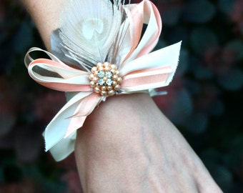 Pale Peacock Feather and Vintage Jewelry Corsage