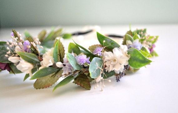Hair Crown Purple Garden, Goddess Headdress, Garden Wedding, Bohemian Hair Crown