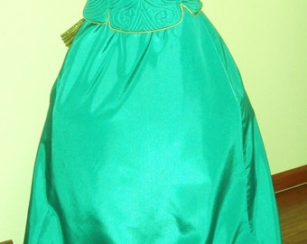 Gorgeous Marilyn Diamonds Are A Girls Best Friend 2pc Teal Gold Lame Quilted Corset Bodice Gown Sz 8 Huge Gold Pleated Bow Accent