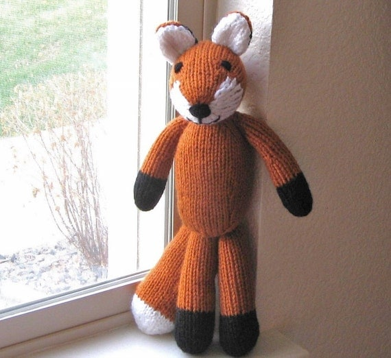Hand Knitted Fox Stuffed Animal Kids Toy Soft Knit Toy Fox