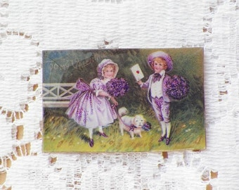 Valentine -- Sweet Boy Giving Girl a Love Letter /  Valentine with Puppy Vintage Image Pin / Brooch with Glitter / Gold / Purple / Lavender