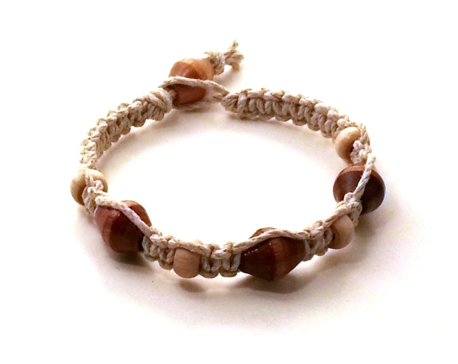 s hemp bracelet wood beaded by moonsouljewelry