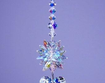 m/w Swarovski Crystal 27mm Aurora Borealis Wild Heart Suncatcher with AB Octagon Star Top Starburst Ornament by Lilli Heart Designs