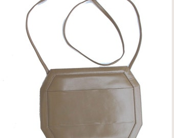80s Vintage Cross Body Purse or Clutch, Convertible Shoulder Purse Octagonal Leather Jay Herbert, Light Brown