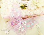"""LILAC Embroidered Lace Butterfly Applique with Sequins 6.75"""" for Shabby crafts, Scrapbooking, Holidays"""