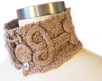 Hand Knit Collar Neckpiece -Wearable Art - Earthtone, Neutral, Brown
