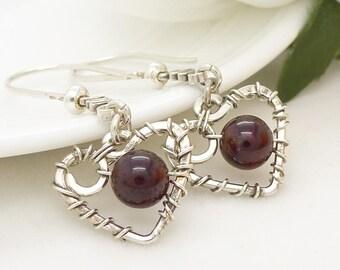 Sterling silver heart earrings, wire wrapped dark red garnet earrings, wire wrapped jewelry, handmade garnet gemstone earrings