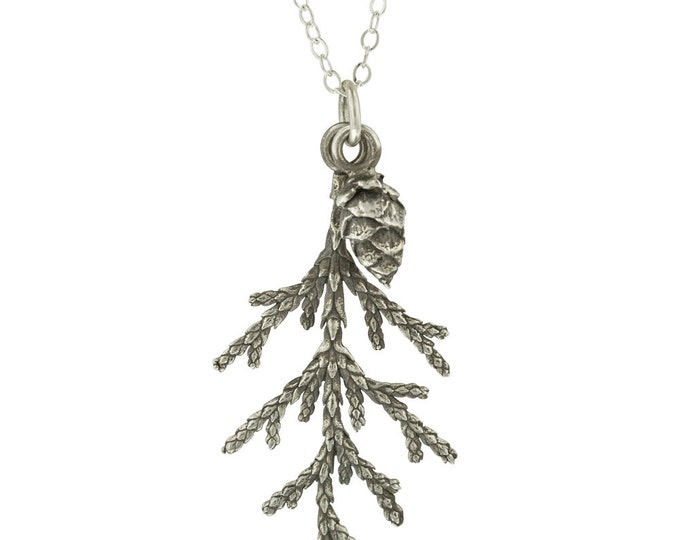 Winter Necklace // Sterling Silver Juniper Branch and Pine Cone Pendant