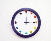 Painter's Clock , Canvas, 3D paint daubs globs - Color Options CUSTOMIZABLE - art studio, nursery, playroom decor or artist painter gift