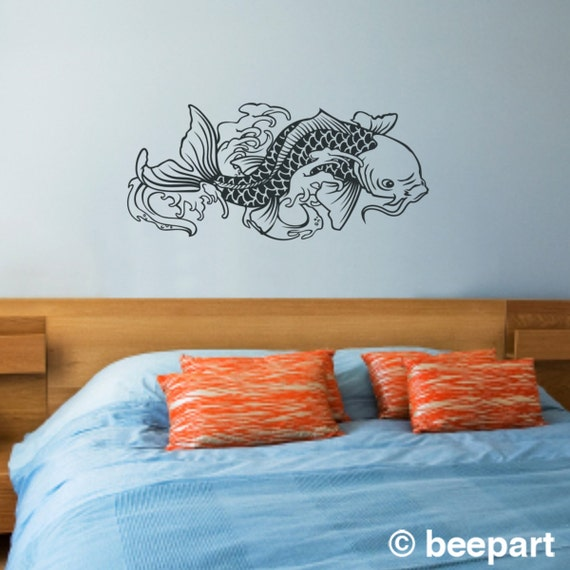 Koi fish vinyl wall decal sticker art japanese traditional for Koi carp wall art