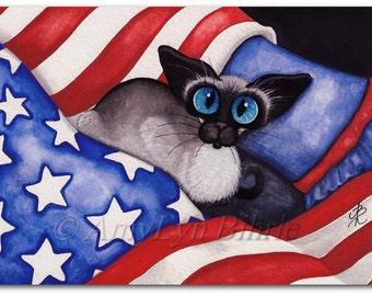 Siamese Cat American Flag ArT - Patriotic 4th of July  Prints by Bihrle ck365