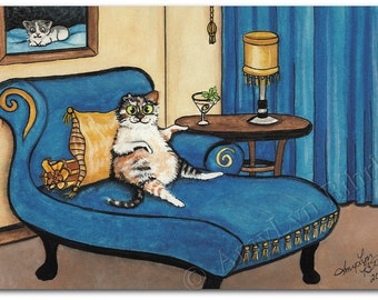 Calico Kitty Cat Time for a Cat-tini Cocktail Time - Art Print by Bihrle ck234