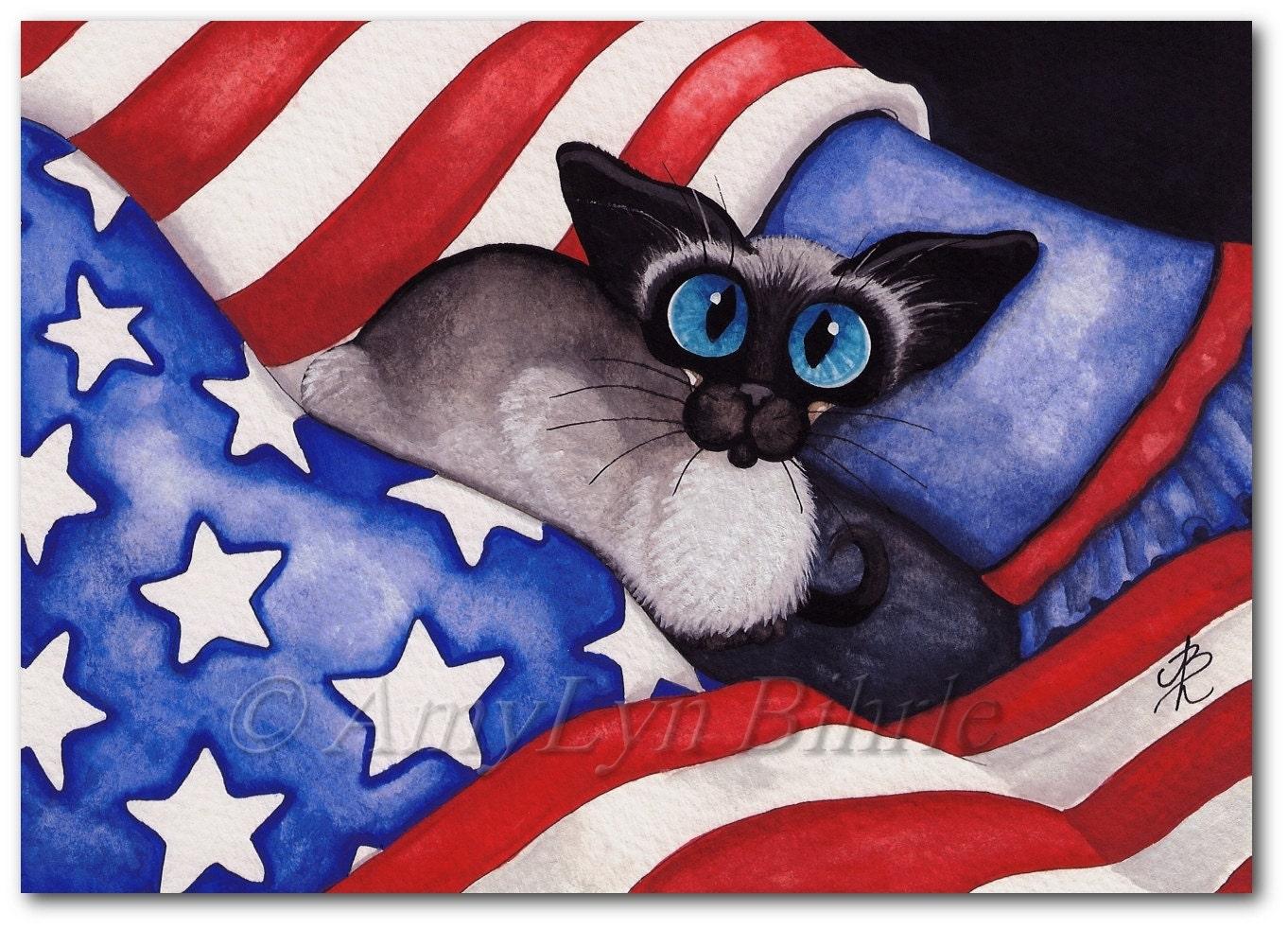 Siamese Cat American Flag Art Patriotic 4th Of July Prints