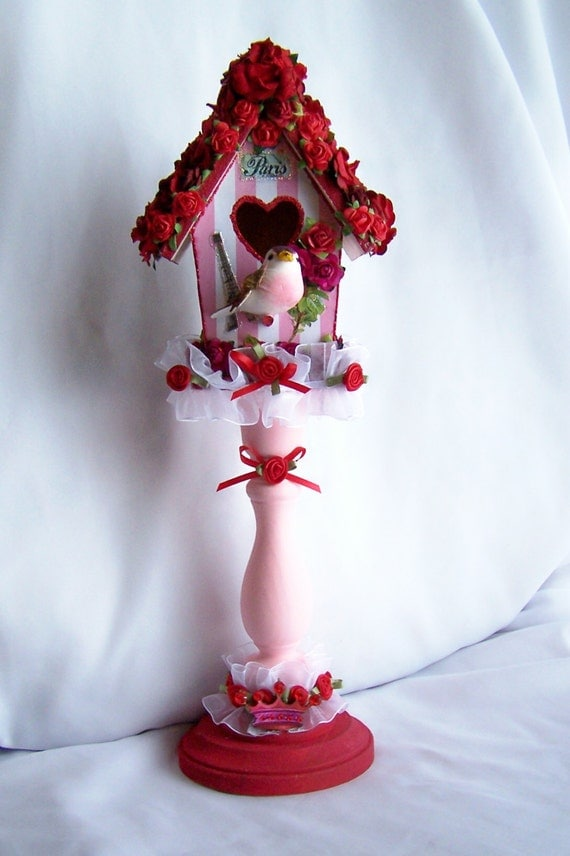 Decorated Birdhouse, Paris, Marie Antionette, French, Red, Gift for Him, Gift for Her, Romantic, Valentine, Home Decor, Free Shipping, Roses