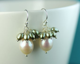 Pearl Drop Cluster Earrings, Large white freshwater pearl and Lichen green pearls, Sterling Silver Hooks, free shipping in Canada by art4ear