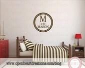 Initial Is For Name Modern Circle Vinyl Wall Decal  - Simple Monogram Boy or Teen Nursery 22 in FN0567