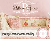 Childs Name Wall Decals - Shabby Chic Baby Nursery Vinyl Wall Decal with Initial Name and Heart Accents 22h x 32w FN0237