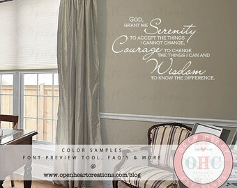 Serenity Prayer Wall Decal - Inspirational Wall Quotes and Sayings for Home 22H X 36W Qt0269