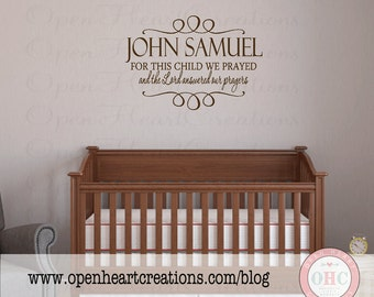 Christian Baby Name Wall Decal Quote - Personalized Name Vinyl and For this Child We Prayed with Accents 22H X 32W Ba0193