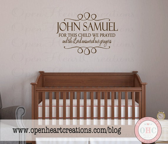 christian baby name wall decal quote personalized name vinyl. Black Bedroom Furniture Sets. Home Design Ideas