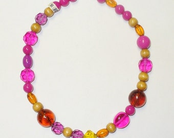 Vintage Made in Japan Plastic and Wood Beaded Necklace DEADSTOCK