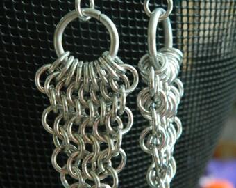 Mesh Drop Earrings in Silver