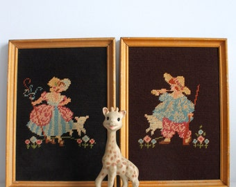 Vintage - Two framed cross stitch Boy and Girl with lambs children nursery decor