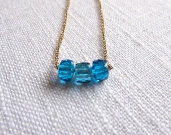 Blue cubic zirconia necklace - gold necklace - cube necklace -  K A T E 121