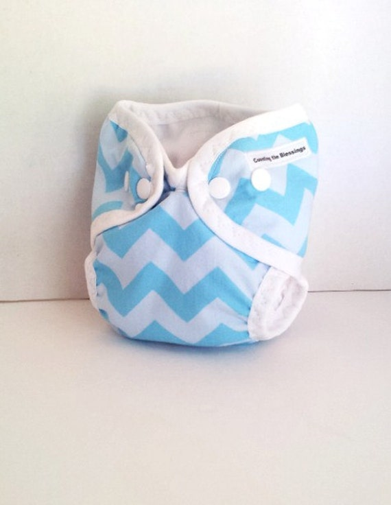 items similar to blue chevron newborn cloth diaper cover shell with gussets and umbilical cord. Black Bedroom Furniture Sets. Home Design Ideas