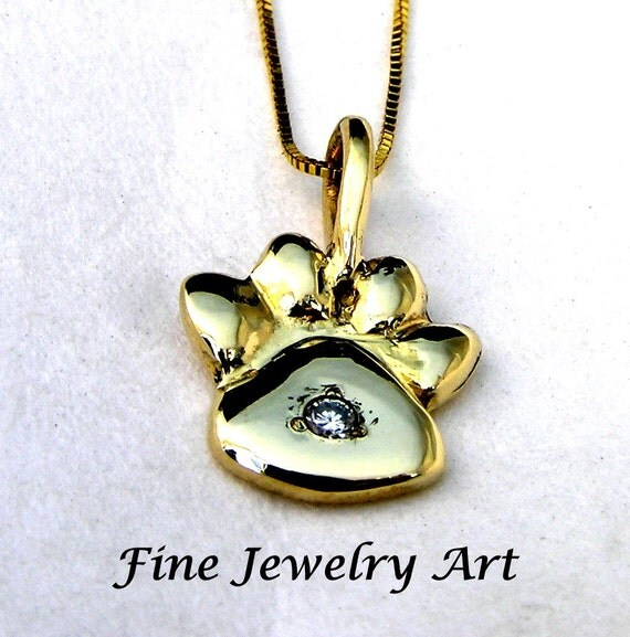 Hand Sculpted Paw Print Inset Diamond Necklace Pendant Handmade Solid 14k Gold  Hand Sculpted Original Design -  EVB Design Fine Jewelry Art