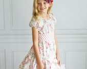 """Darling """"Tea Rose"""" Floral Ruffle Dress - Girls - Peasant Dress - Lace Trim - Country Chic - Vintage Look - Tea Party - Birthday - Pink"""