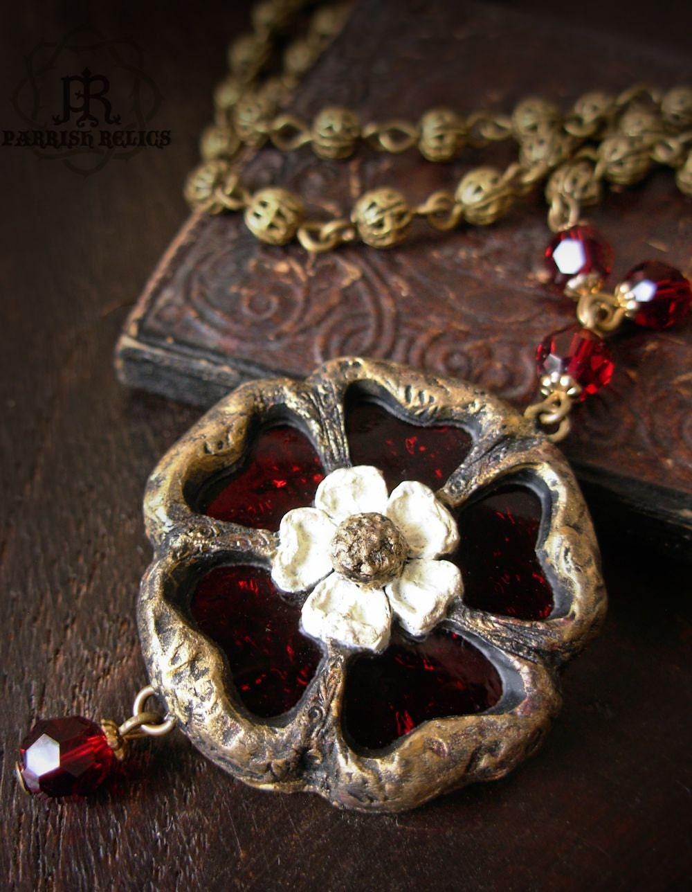 Tudor Rose Stained Glass Gothic Window Necklace