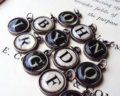 RESERVED LISTING....Vintage Style Typewriter Key Pendant Initial signet charms Black white Ivory Antique Style