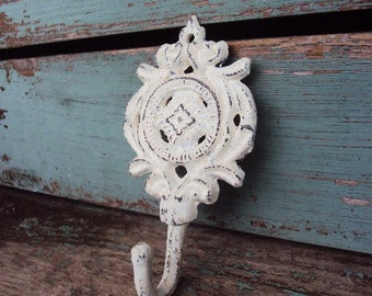Distressed Metal Wall Hook Cast Iron Medallion Shabby Chippy Style