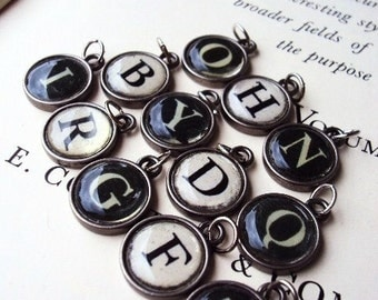 Vintage Style Typewriter Key Pendant Initial signet Letter Charms Bubble Glass Name Word for Necklace or bracelet Antique Silver black white