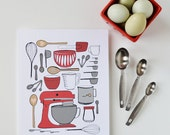 Mother's Day Gift, CHOOSE your color, Kitchen Art, Kitchen Decor, Baking, Mixer, I love to bake, utensils, 8 x 10 Art Print