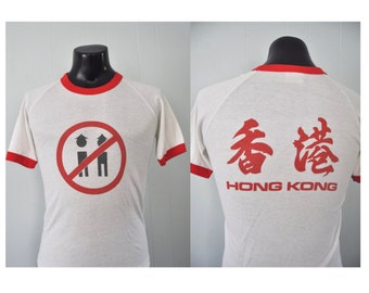 Vintage Ringer Tee Red White Hong Kong Super Soft Thin Near Burnout Tourist China Great Wall Tshirt MEDIUM