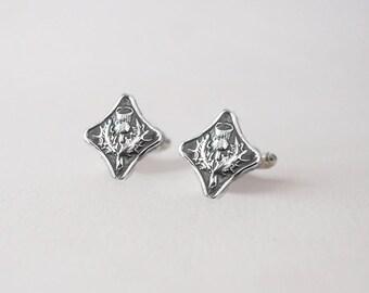 Scottish Thistle Cuff Links -  Sterling Silver Thistle CuffLinks -  Sterling Men's CuffLinks - Scottish Wedding CuffLinks Groom