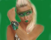 Color Block Bracelet in Emerald Green Agate & Hematite - Huge Handmade Cuff by Sharona Nissan