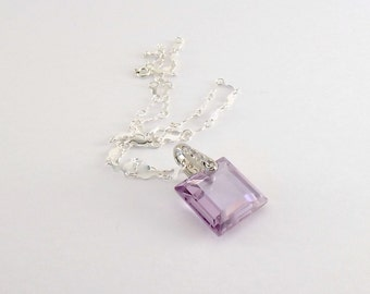 Amethyst Czech Glass Necklace -  Cubic Zirconia Necklace - Sterling Silver Necklace - Crystal Necklace - Bride Necklace - Square - N064