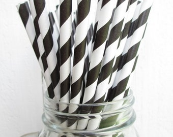 50 Black Striped Paper Straws