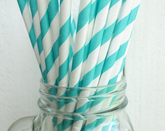 50 Aqua Striped Paper Straws Made in the USA Aardvark Teal